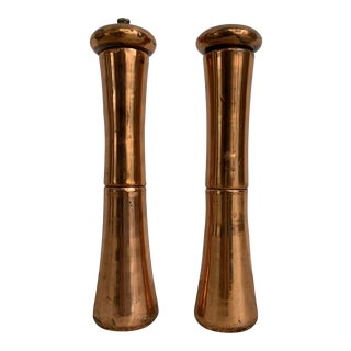 Mid 20th Century Vintage Copper Salt and Pepper Mills - a Pair For Sale