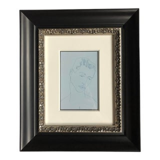 Andy Warhol Male Figure Postcard Print in Black and Silver Frame For Sale