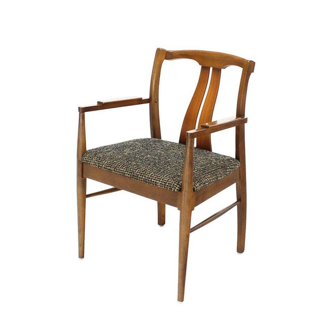 Mid-Century Modern Six Mid-Century Modern Walnut Dining Chairs New Upholstery For Sale - Image 3 of 10