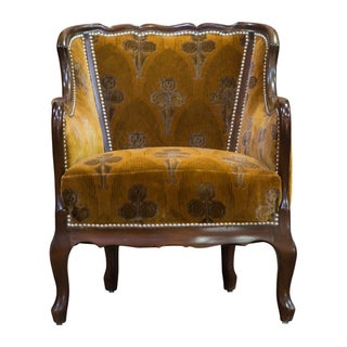 Orange Velvet Vintage Deco Club Chair For Sale