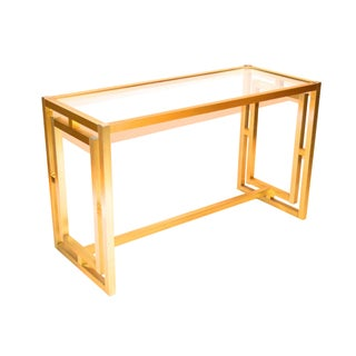 Mid-Century Brass Console Table