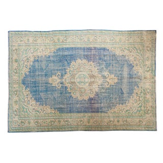 "Vintage Distressed Oushak Carpet - 7' X 10'2"" For Sale"