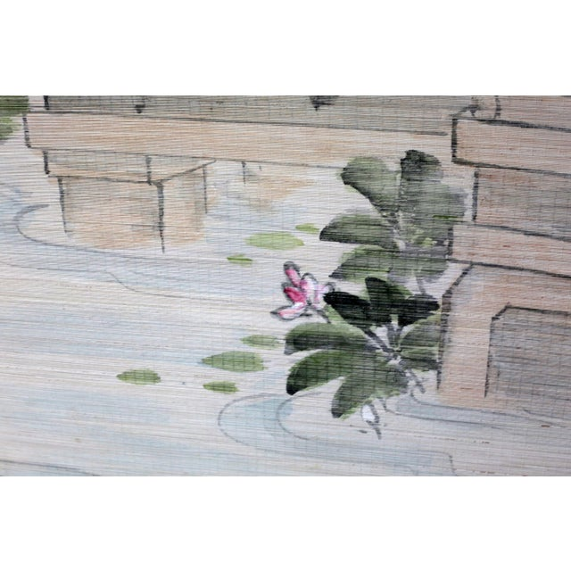 Large Painting of Asian Ladies in a Pagoda and Lake Scene For Sale In Tampa - Image 6 of 13