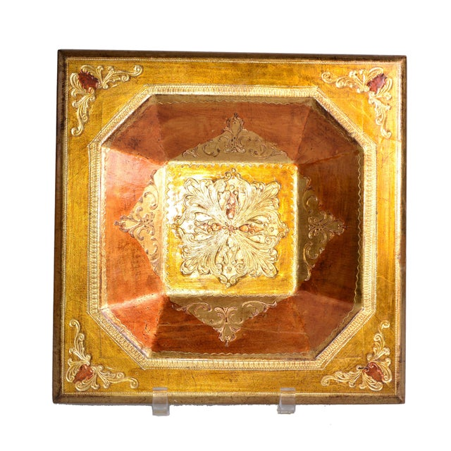 """Offered is a decorative vintage gilt wood square centerpiece bowl or tray. Made in Italy. Marked underneath """"Florentia""""..."""