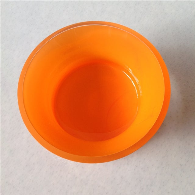 Bright Orange Czech Glass Console Bowl - Image 4 of 5