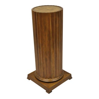 Baker Furniture Fluted Column Cherry & Burl Wood Top Pedestal Plant Stand For Sale