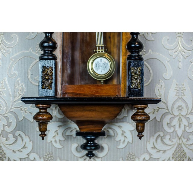 19th-Century Wall Clock With Carvings For Sale - Image 6 of 13
