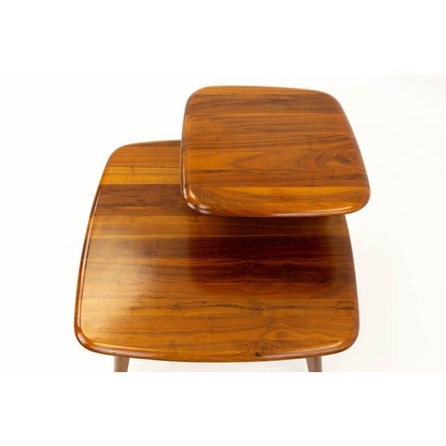 Mid CenturyModern Walnut Corner Side Table For Sale - Image 9 of 10
