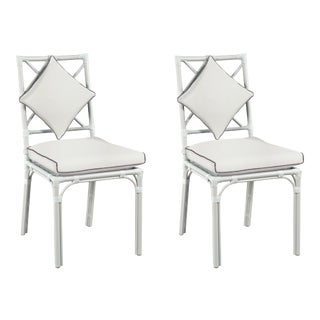 Haven Outdoor Dining Chair, Canvas White with Canvas Coal Welt, Pair For Sale