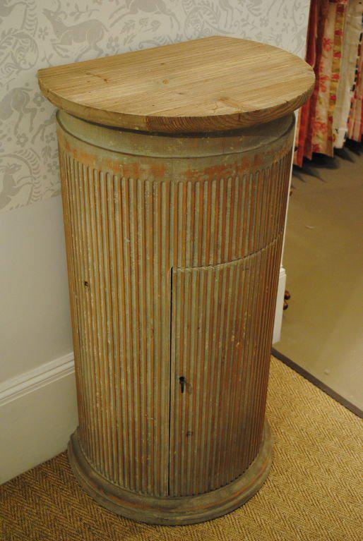 Contemporary Wooden Column Pedestal With Fluted Detail, Blind Cut Door, And  Two Interior Shelves