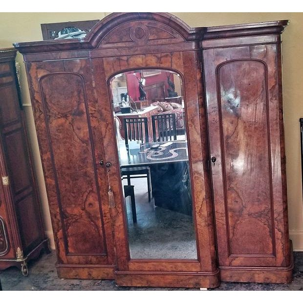 19c British Burl Walnut Breakfront 3 Door Wardrobe With Chest of Drawers For Sale - Image 11 of 13