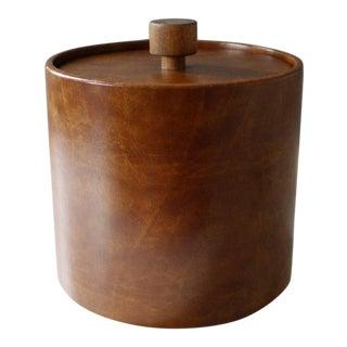 Vintage Faux Leather & Teak Ice Bucket Brown Mid Century Modern For Sale