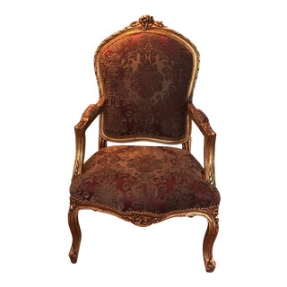 Modern Louis XV Accent Chair, French Chair, Handmade, Antique Vintage Furniture Reproduction , Victorian For Sale