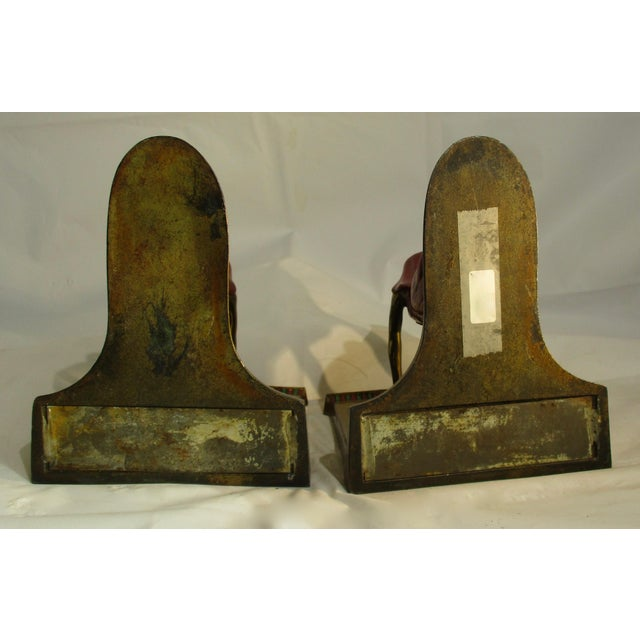1924 L Moronson Egyptian Revival Polychrome Queen of the Nile Bookends - a Pair For Sale - Image 4 of 9