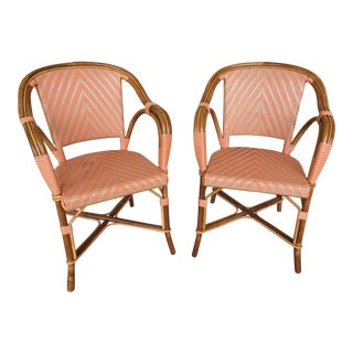 Restored Rattan Chairs With Woven Seat and Back - Set of 2