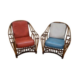 Quality Pair of Antique Split Reed Rattan Lounge Chairs For Sale