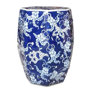 Asian Modern Hexagonal Blue and White Butterfly Ceramic Garden Stool