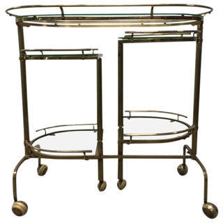 Three-Tier Brass Folding Bar Cart For Sale
