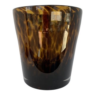 Vintage Tortiseshell Handblown Glass Wine Cooler Ice Bucket For Sale