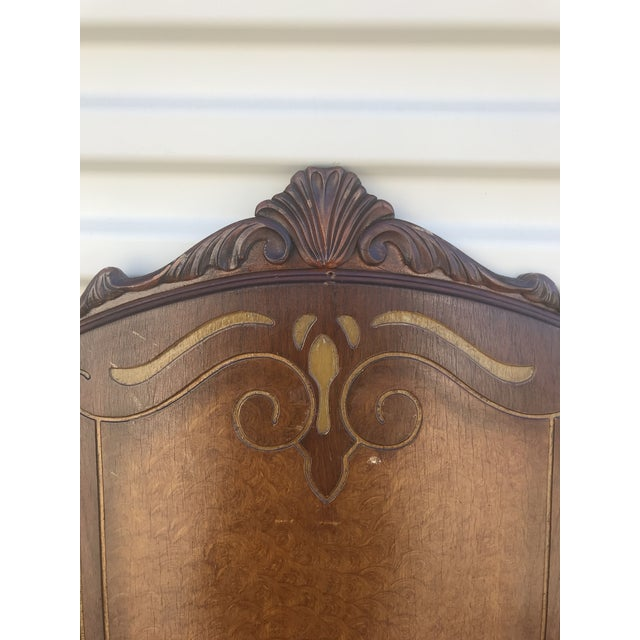 """Gorgeous full size antique headboard and footboard with metal rails. 53"""" tall headboard, 58"""" wide, footboard is 28"""" tall...."""