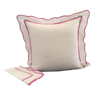 White With Pink Scallop Edge Euro Shams - A Pair
