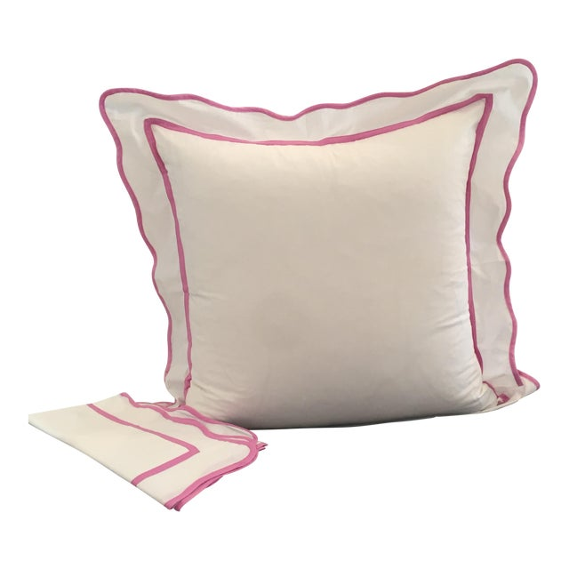 White With Pink Scallop Edge Euro Shams - A Pair For Sale