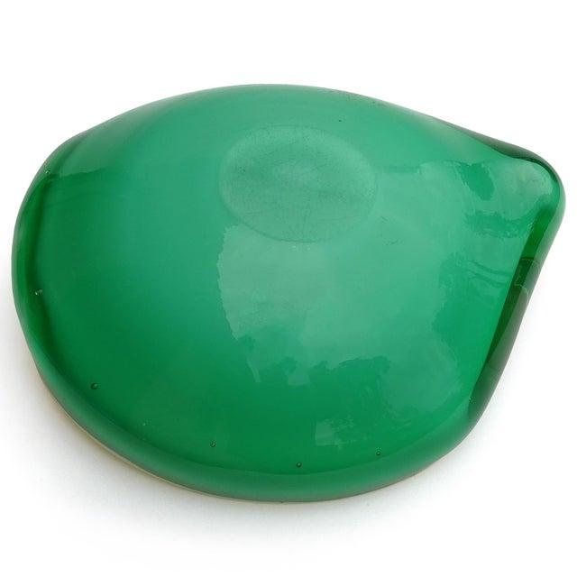 Glass Fratelli Toso Murano Vintage Orange Green Italian Art Glass Melon Mango Mid Century Decorative Bowl For Sale - Image 7 of 8