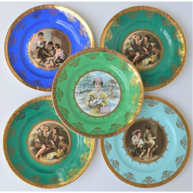 This is a set of 5 vintage Josef Kuba, JKW Bavaria porcelain plates. These beautiful vibrantly colored plates are circa...