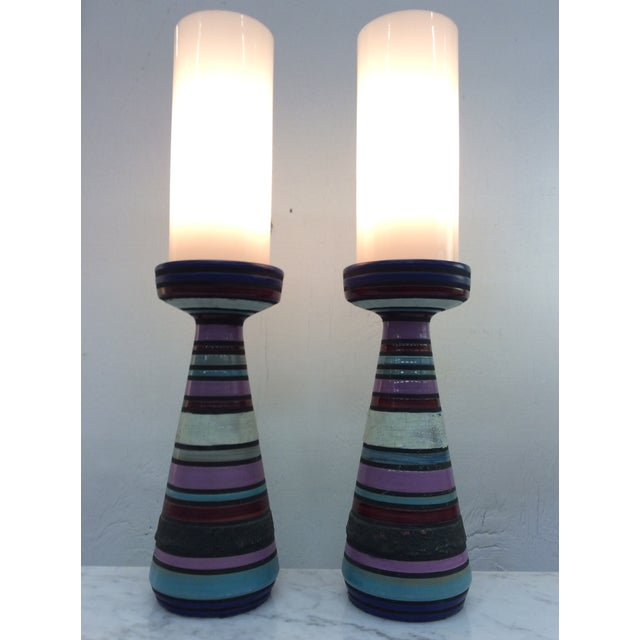 Mid-Century Modern Aldo Londi Bitossi Ceramic Table Lamps - a Pair For Sale - Image 3 of 11