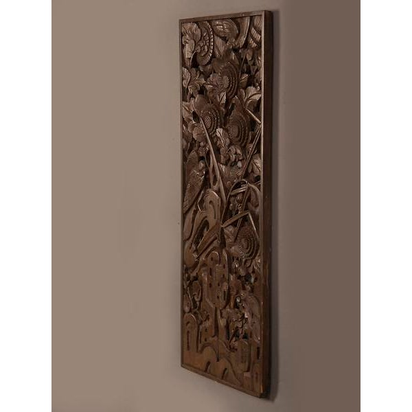 Asian 1900s Chinese Handsome Carved Birds And Foliage Motif Timber Panel For Sale - Image 3 of 6