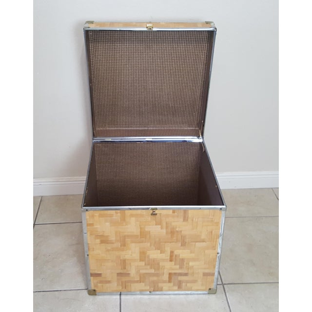 Gold 1970s Chinoiserie Woven Bamboo Storage Trunk For Sale - Image 8 of 13