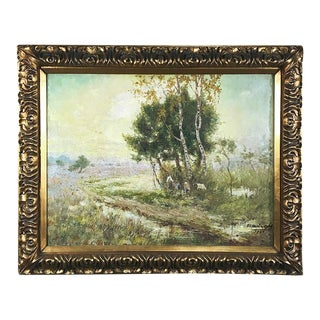 Antique Framed Oil Painting on Canvas by C. V. Santweghs For Sale