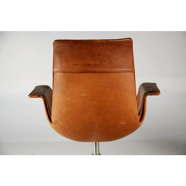 Distressed Leather Bird Chair by Preben Fabricius & Jørgen Kastholm for Alfred Kill For Sale - Image 9 of 10