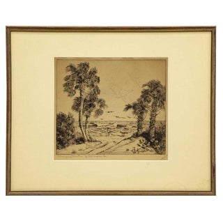 1930s Vintage Walter Ronald Locke Gulf Etching Print For Sale