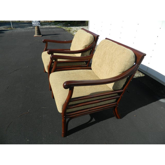 Palecek Colonialwood Club Chairs - A Pair - Image 4 of 11