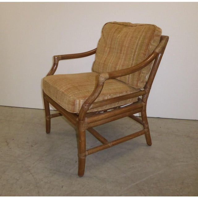 Mid-Century Modern Vintage Mid Century Modern McGuire Tan Stripped Bamboo Rattan Accent Chair For Sale - Image 3 of 12