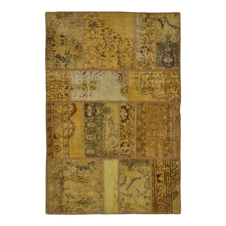 "Turkish Over-Dyed Distressed Patchwork Area Rug - 3'11"" X 5'10"" For Sale"