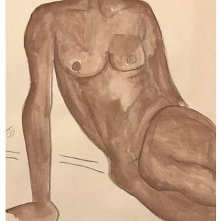 Vintage Mid-Century Female Nude Watercolor by James Bone For Sale