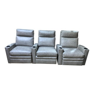 Hancock & Moore Leather Theatre Seats - Set of 3 For Sale