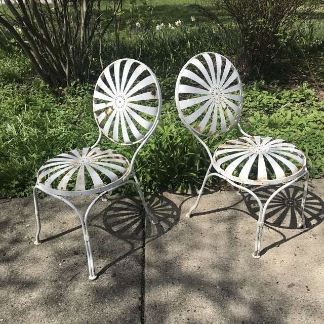 Off-white Francois Carre French Sunburst Garden Bench For Sale - Image 8 of 13
