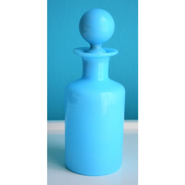 Portieux Vallerysthal 1940's Antique Portieux Vallerysthal Blue Opaline Perfume Bottle For Sale - Image 4 of 8