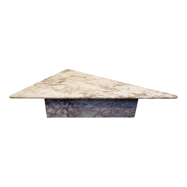 1970s Triangular White Marble Italian Coffee Table For Sale