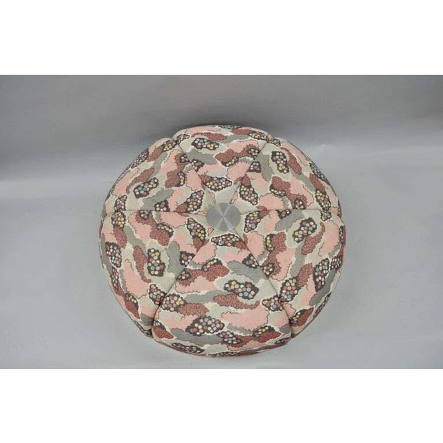 Pink Mid Century Modern Round Pink Tufted Chrome Base Souffle Pouf Ottoman For Sale - Image 8 of 9