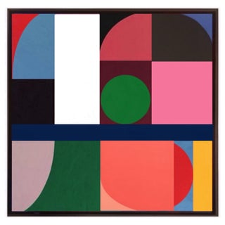 Original Geometric Abstract Framed Painting by Brooks Burns For Sale