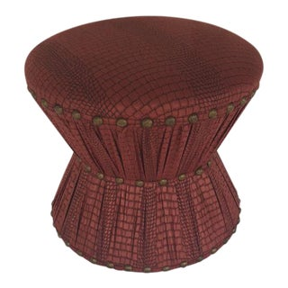 Leather Embossed Hourglass Stool
