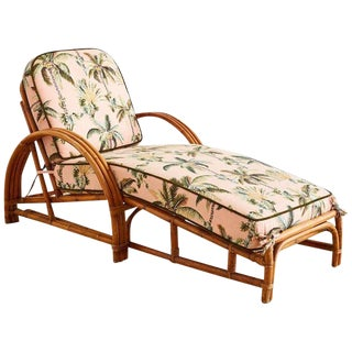Paul Frankl Style Three Strand Rattan Chaise Lounge For Sale