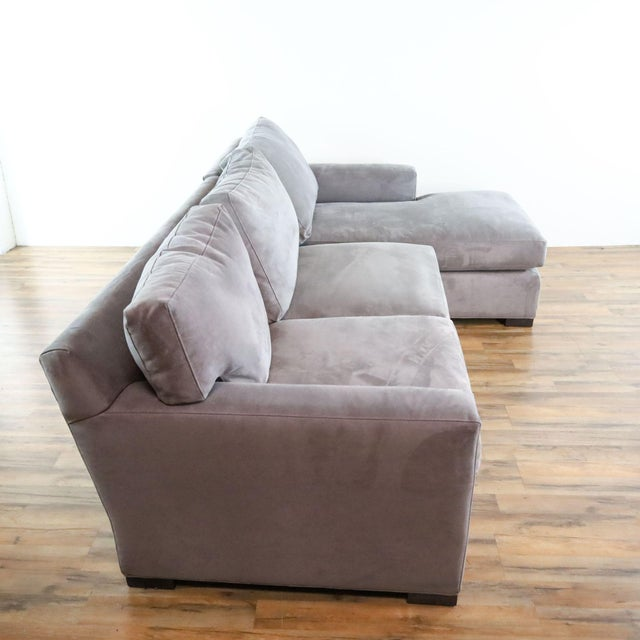 Crate & Barrel Crate & Barrel Gray Upholstered Sectional Sofa For Sale - Image 4 of 9