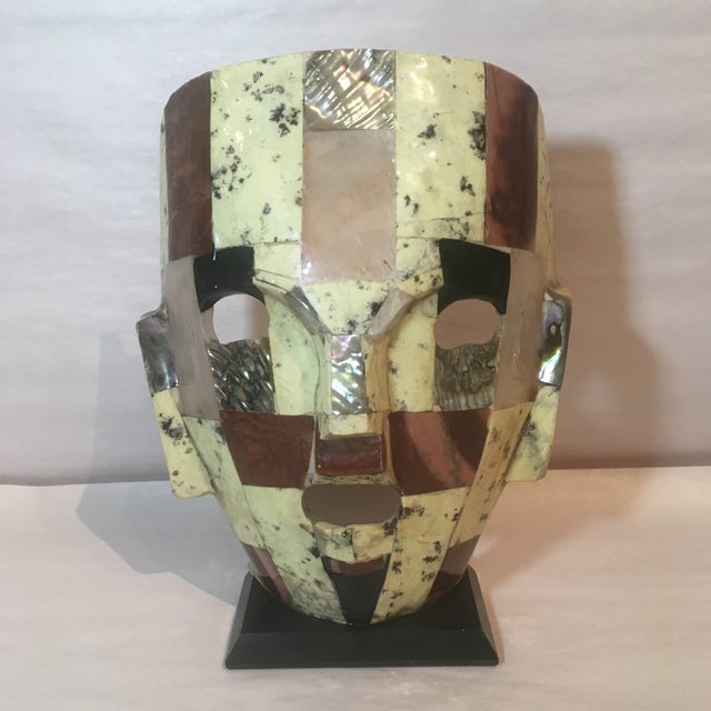 Primitive Mid-Century Handmade Mother of Pearl Mask For Sale - Image 3 of 9