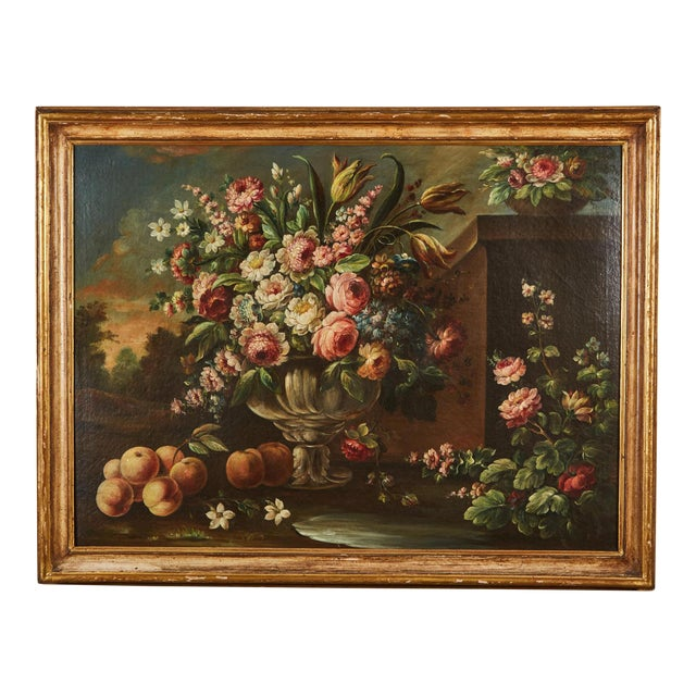 Pair of 19th Century Italian School Still Life Large Oil-On-Canvas Painting within a Giltwood Frame For Sale