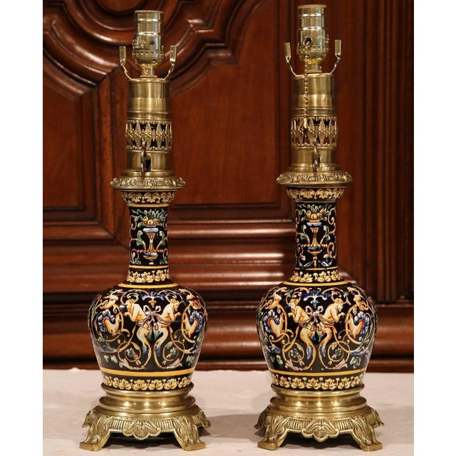 French Hand-Painted Porcelain & Bronze Oil Lamps - A Pair For Sale - Image 4 of 10